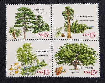 Eight (8) vintage unused postage stamps - Trees // 15 cent stamps // Face value 1.20