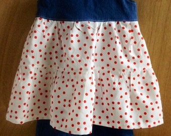 Polka Dot Summer Top and Ruffle Shorts, girls size 5