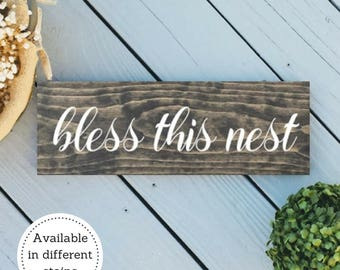 5x16 Bless This Nest Sign - Bless This Nest Stained Wood Sign - Nest Sign - Bless This Nest Sign - Stained Wood Sign -Rustic Bless This Nest
