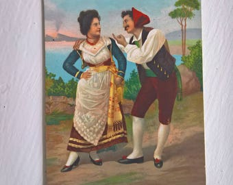 Antique Italian Floozy Postcard --- Vintage 1910's Beautiful Artwork Mail Souvenir --- Wonderful Fun Flirt Man & Woman Couple Home Decor