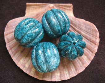 Vintage Lucite Beads Teal Speckled Fluted Pumpkin Shape Pattern  24mm x 23mm - Four pieces