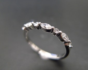 Marquise Diamond Wedding Ring in 14K Rose Gold