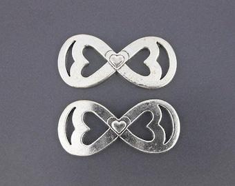 "large Silver ""Infinity"" symbol x 2 connectors antiqued 45 x 21mm (08D)"