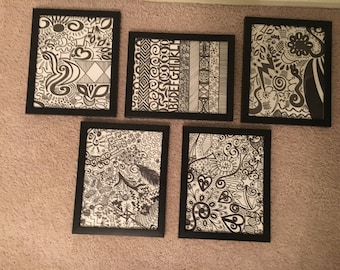 One-of-a-kind Black and White Framed Doodle (Commission)