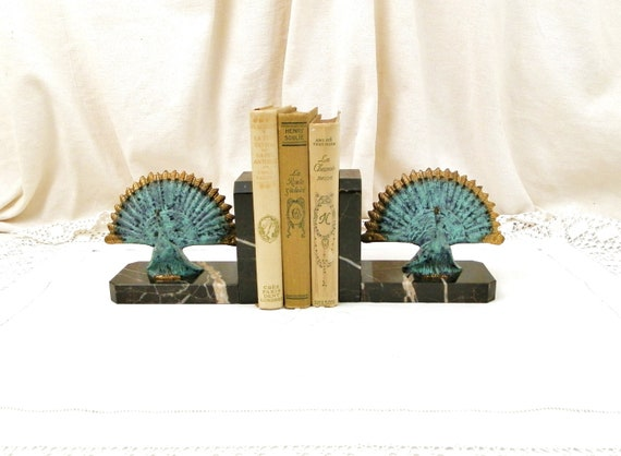 Antique French Art Deco Bronze and Vert de Gris Metal Peacocks Black and White Marble Bookends, Bird Book Buttresses / Supports from France