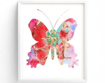 Nursery Art, pINK Butterfly Printable, Printable Wall Art, Girls Nursery Art