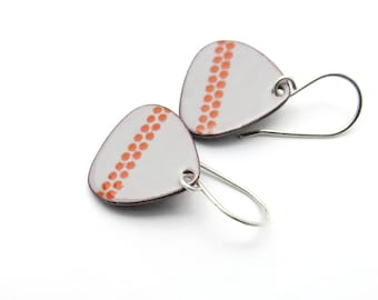 Gray Drop Earrings - Light Gray Dangle Earrings with Red Polka Dots - Handmade Enamel Jewelry
