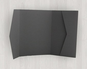 10 Horizontal Pocket Enclosures - Gray, Black & Silver - DIY Invitations - Invitation Enclosures for Weddings and Other Events