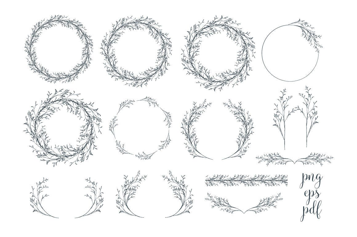 Minimalist wreaths and dividers clipart botanical wreaths clip art this is a digital file stopboris Image collections