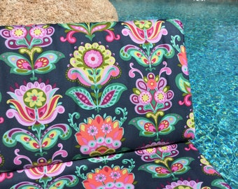 Amy Butler Bright Heart Folk Bloom Midnight  Color ~ Bright Heart Collection by Amy Butler, Cotton Quilt Fabric