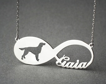 Personalised INFINITY SETTER Necklace - Setter necklace - Name Necklace - Memorial Necklace - Dog Necklace