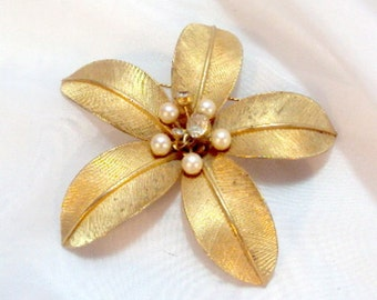 4 Inch Brushed Goldtone Flower Pin with Faux Pearls and Rhinestones - Vintage