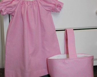 Pink Gingham Peasant Dress with Matching Easter Basket