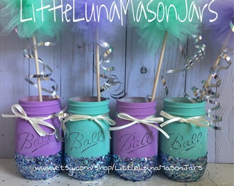 Teal and purple hand painted pint sized jars with glitter bottoms, birthday party centerpiece, baby shower decor, desk decor, room decor