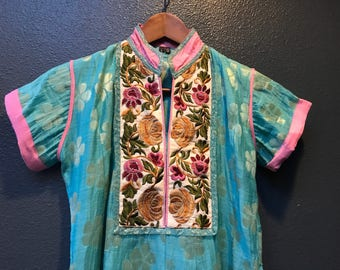 Turquoise blue embellished vintage indian dress.