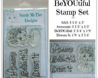 BeYOUtiful Clear Rubber Stamp by Sandy McTier