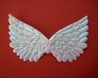 WHITE Iridescent Angel Wings, Fairy Wings for Scrapbooking, Crafting, Collage Altered Art, 4.75 x 3 inches, 6 or 12 pieces