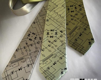 Circuit Board, Printed Neck Ties, Men's Clothing Neck Tie, Computer Geek, Geekery, Science Fiction Gift, Hipster Clothing Accessory, Techie.