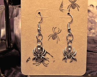 SPIDER EARRINGS | Dangle French Hook | Wicca | Witch | the Craft