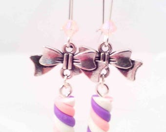 """Earrings """"Marshmallow pink, white & purple"""" REF BO36"""
