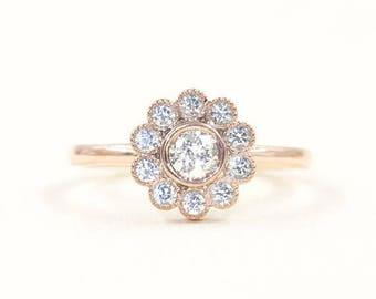 Bezel Diamond Ring.Diamond Engagement Ring.14K Solid Gold & Natural High Quality Diamond.Halo Flower Shaped Ring.Diamond Wedding Ring.