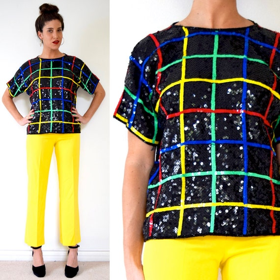 Vintage 80s 90s Rainbow Striped Grid Sequined Silk Blouse (size medium, large)