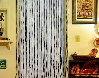 Vintage DEADSTOCK Bead Door Curtain: NOS 70s Fringe Doorway Room Divider     Dark Earthtone