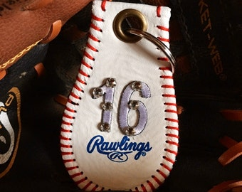 Rhinestone BLING Personalized Baseball Leather Keychain--Great Coaches Gift, Baseball  Gift, Baseball Mom and Dad Gifts