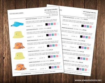 Wholesale line sheet template with colour options, Line Sheet template color sheet, Minimalist Wholesale Sheet, simple product sheet