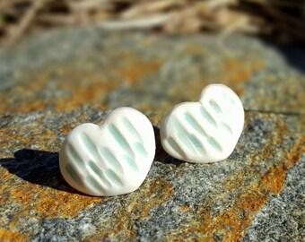 Pair of Porcelain Heart Earrings in Celadon