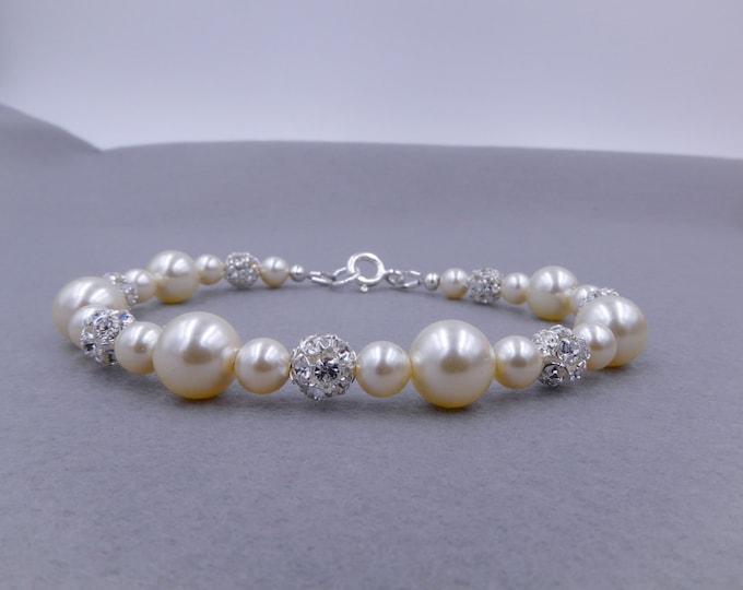 pearl diamante bracelet, cream, 25 colours, 925 silver, Swarovski Pearls, bracelet, bridal, rhinestone, wedding, mother  bride,