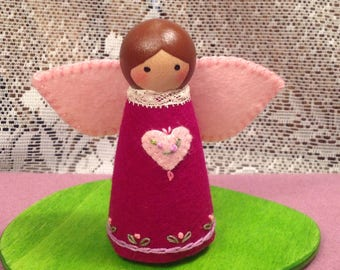 Deep Violet Valentine Peg Doll Fairy