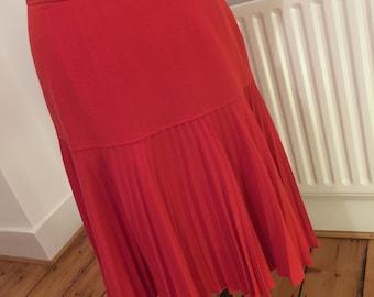 Vintage Jean Muir red pleated skirt