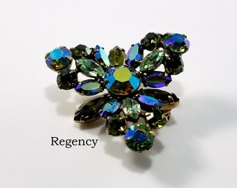 REGENCY signed Brooch with Combination of Peridot, Aurora Borealis, and Olive Green Marquise & Chatons in Trianglular shape - Gorgeous Gift