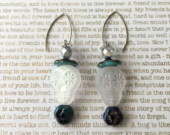 Sugar Skull Earrings - OOAK - Made With Czech Crystals In Clear, Teal and Blue and Sugar Skull Beads Day of the Dead Skulls