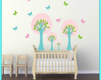 FREE SHIPPING Wall Decal Pink Trees & Butterflies Colorful. Nursery Wall Decal. Home Decor. Diy Decal. Vinyl Wall Decal.Kids Wall Decal.