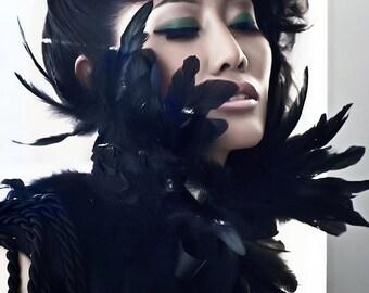 Black  Feather Collar Neckpiece - Dramatic