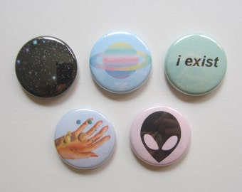 "Alien/Space ""I exist"" 5 pack pinback button badge set"