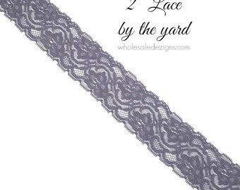 """Grey Elastic Lace - 2"""" - High Quality Lace - DIY Headbands Maternity Sash Garter Bridal Lace - Stretch Lace By The Yard - 2 inches Wide"""