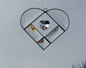 Beveled Glass Heart with Crystal