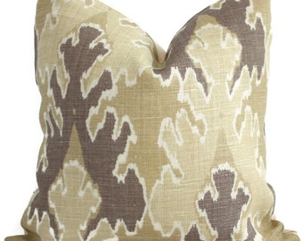 Bengal Bazaar Straw Mushroom Ikat Pillow Cover Square, Euro or Lumbar Pillow, Lee Jofa, Throw Pillow, Accent Pillow, Groundworks