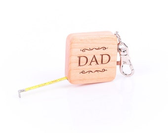 Custom Personalized Wood Tape Measure Tool on Key Chain, father's day, graduation, laser engraved, GFT0011