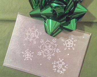 White Snowflake on Silver Greeting Card