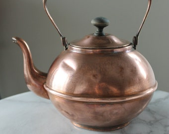 Vintage Copper Teapot, Kettle with Wooden Handle and Lid Knob - Home Decor, Kitchen Decor