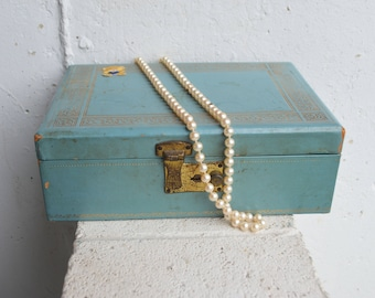 Vintage Blue Jewelry Box, 1950s-60s