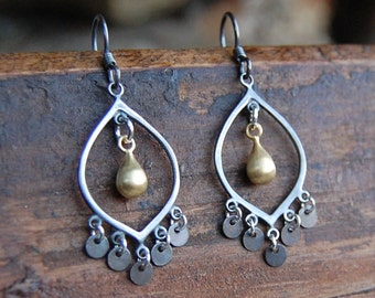 Oxidized Sterling Silver & Brushed Gold Chandelier Earrings
