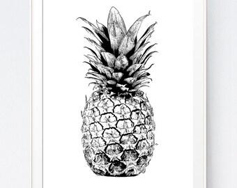Pineapple Print, Pineapple, Pineapple Art, Pineapple Photo, Pineapple Wall Art, Summer Print, Black and White, Pineapple Wall Print, Surf