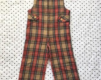 Vintage Plaid Overalls Jumpsuit One Piece Boys Sz 3T 4T