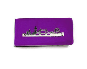 London City Skyline Money Clip Hand Painted Glossy Enamel Finish on Silver Plated Clip with Personalized and Color Options