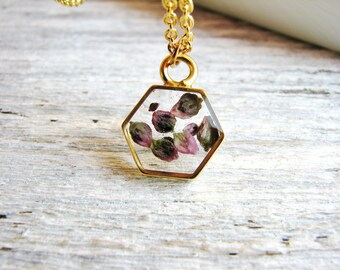 Tiny Flower Seed Pendant Necklace, Mini Hexagon Necklace, Bohemian Necklace, Boho Necklace, Layering Necklace, Minimalist, Geometric Jewelry